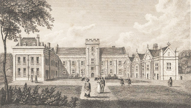 A Victorian engraving of Dulwich College