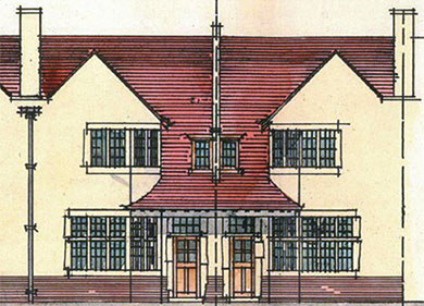 Front elevation drawing of house on Pickwick Road