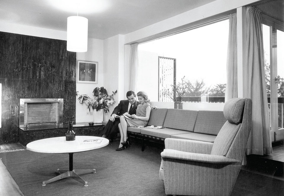 Interior photograph of a show house Rock Hill 1962