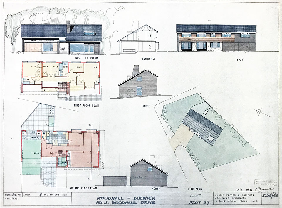 Architect's drawing for a house at Woodhall Drive from 1960